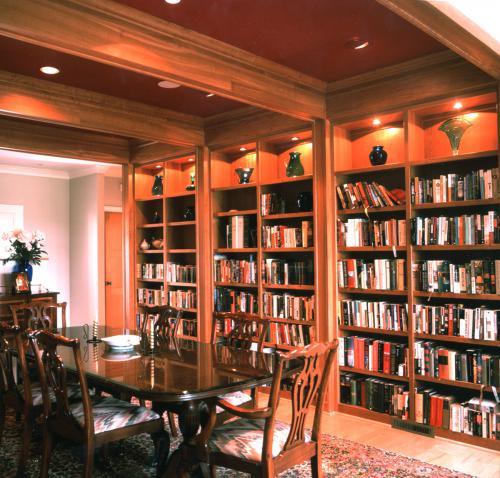 Hillsborough Residence dining and bookshelves